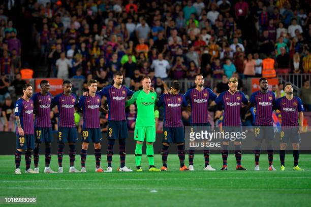 Barcelona's Argentinian forward Lionel Messi Barcelona's French forward Ousmane Dembele Barcelona's Portuguese defender Nelson Semedo Barcelona's...