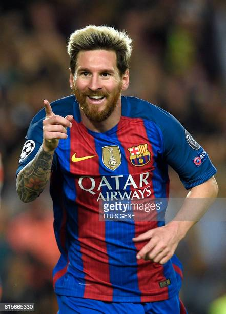 Barcelona's Argentinian forward Lionel Messi celebrates a goal during the UEFA Champions League football match FC Barcelona vs Manchester City at the...