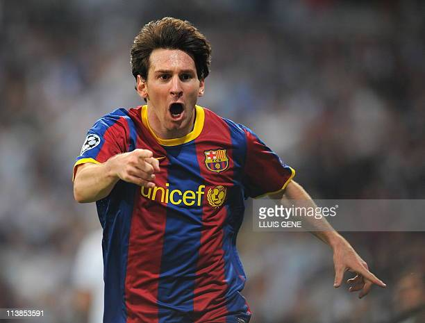 Barcelona's Argentinian forward Lionel Messi celebrates after scoring during the Champions League semifinal first leg football match between Real...
