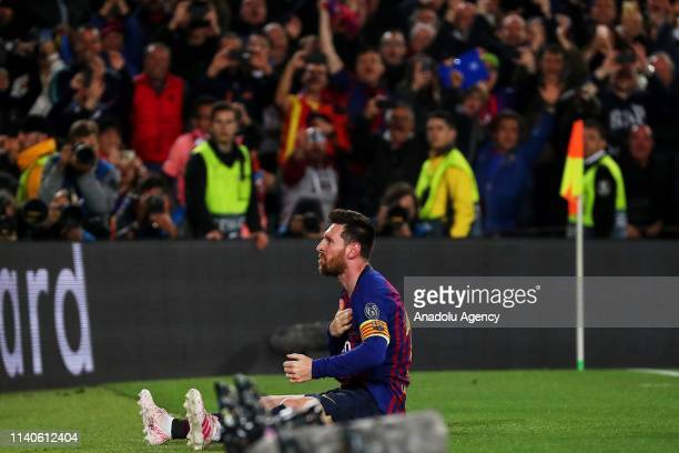 Barcelona's Argentinian forward Lionel Messi celebrates after scoring a goal during semi finals of UEFA Champions League football match between FC...
