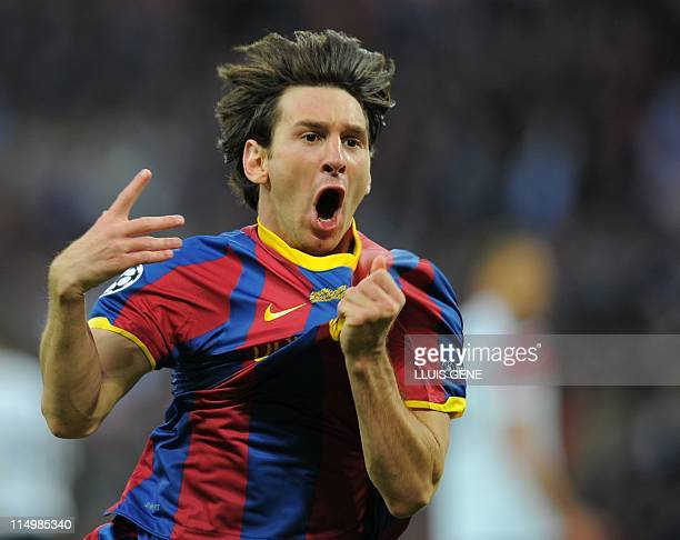 Barcelona's Argentinian forward Lionel Messi celebrates after scoring a goal during the UEFA Champions League final football match FC Barcelona vs...