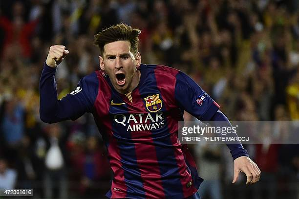 Barcelona's Argentinian forward Lionel Messi celebrates after scoring during the UEFA Champions League football match FC Barcelona vs FC Bayern...