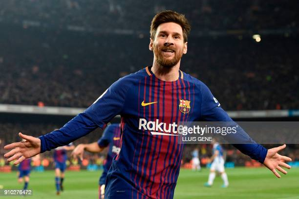 Barcelona's Argentinian forward Lionel Messi celebrates after scoring a goal during the Spanish 'Copa del Rey' quarter-final second leg football...