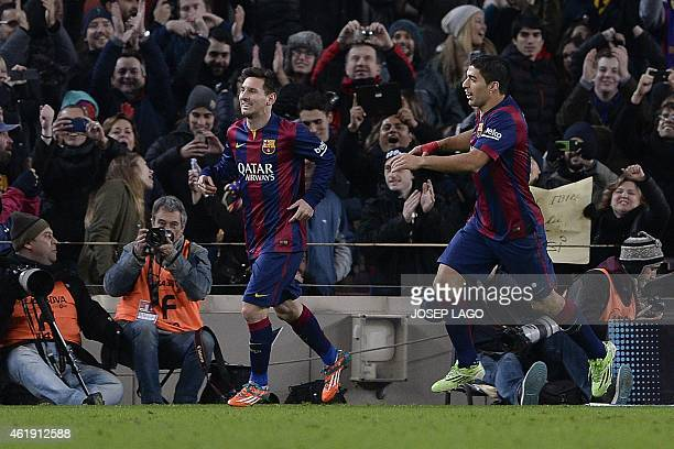 Barcelona's Argentinian forward Lionel Messi celebrates his goal during the Spanish Copa del Rey quarter final first leg football match FC Barcelona...