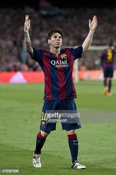 Barcelona's Argentinian forward Lionel Messi celebrates his goal during the Spanish Copa del Rey final football match Athletic Club Bilbao vs FC...