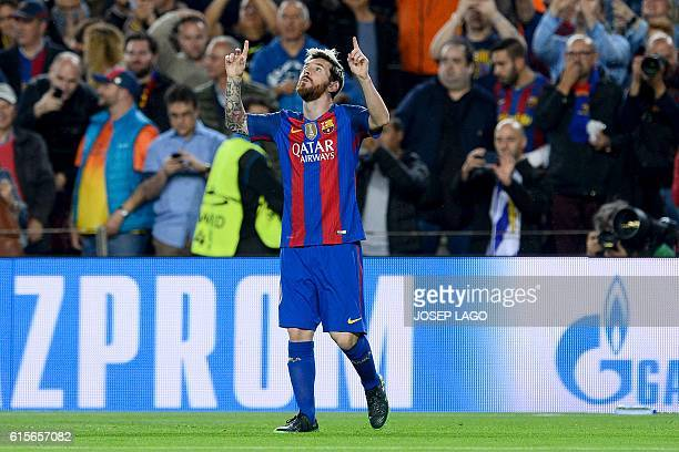 Barcelona's Argentinian forward Lionel Messi celebrates his goal during the UEFA Champions League football match FC Barcelona vs Manchester City at...