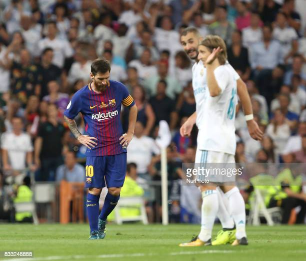Barcelona's Argentinian forward Lionel Messi delusion during the second leg of the Spanish Supercup football match Real Madrid vs FC Barcelona at the...
