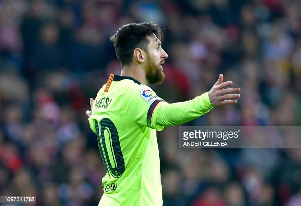 Barcelona's Argentinian forward Lionel Messi gestures during the Spanish league football match Athletic Club Bilbao against FC Barcelona at the San...