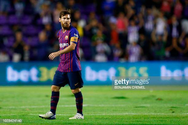 Barcelona's Argentinian forward Lionel Messi leaves the pitch after the Spanish league football match between Real Valladolid and FC Barcelona at the...