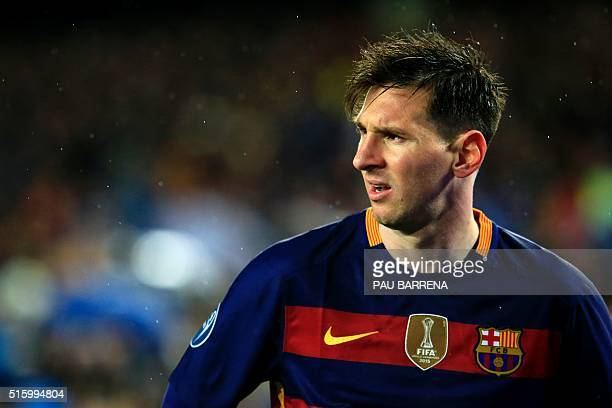 Barcelona's Argentinian forward Lionel Messi looks on during the UEFA Champions League Round of 16 second leg football match FC Barcelona vs Arsenal...