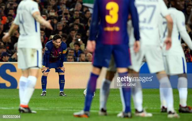 TOPSHOT Barcelona's Argentinian forward Lionel Messi prepares to shoot during the UEFA Champions League round of sixteen second leg football match...
