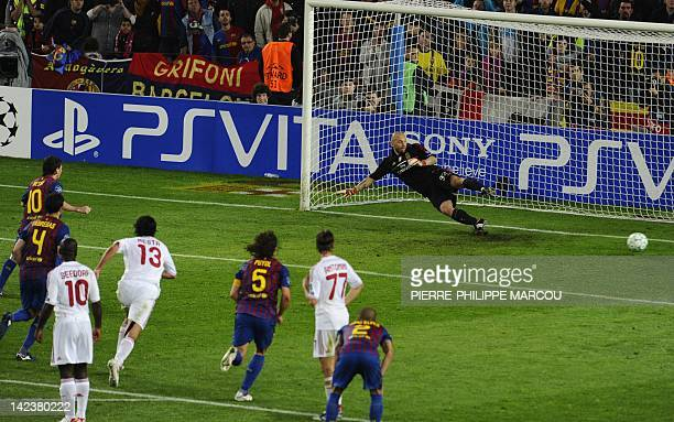 Barcelona's Argentinian forward Lionel Messi scores his second penalty during the Champions League quarterfinal second leg football match FC...
