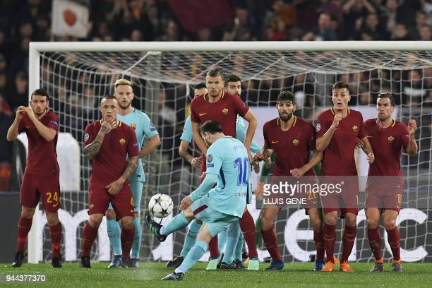 FC Barcelona's Argentinian forward Lionel Messi shoots a free kick during the UEFA Champions League quarterfinal second leg football match between AS...