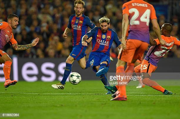 Barcelona's Argentinian forward Lionel Messi shoots to score a goal during the UEFA Champions League football match FC Barcelona vs Manchester City...