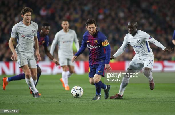 Barcelona's Argentinian forward Lionel Messi vies N'Golo Kante of Chelsea during the UEFA Champions League Round of 16 Second Leg match FC Barcelona...