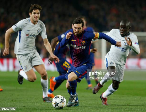 Barcelona's Argentinian forward Lionel Messi vies with Chelsea's French midfielder N'Golo Kante and Chelsea's Spanish defender Marcos Alonso during...