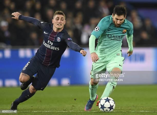 TOPSHOT Barcelona's Argentinian forward Lionel Messi vies with Paris SaintGermain's Italian midfielder Marco Verratti during the UEFA Champions...