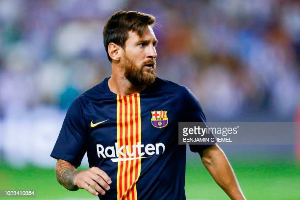 Barcelona's Argentinian forward Lionel Messi warms up before the Spanish league football match between Real Valladolid and FC Barcelona at the Jose...