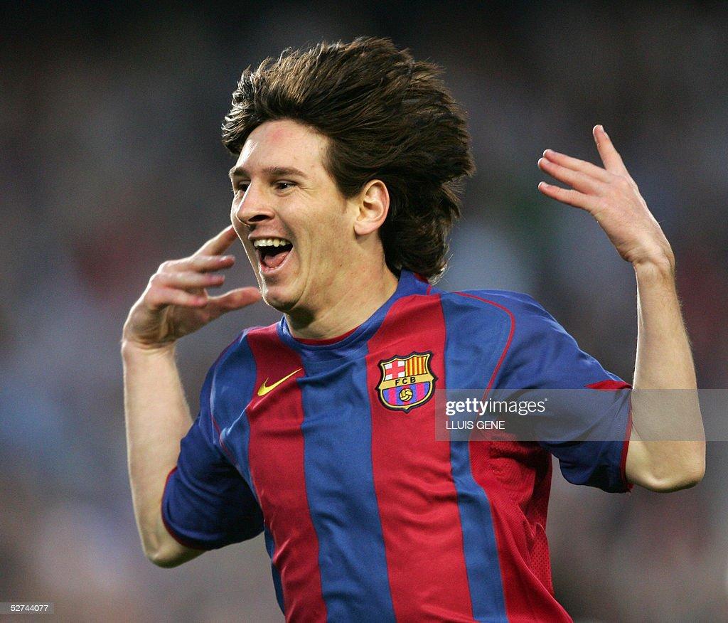 FC Barcelona's Argentinian Messi celebra : News Photo