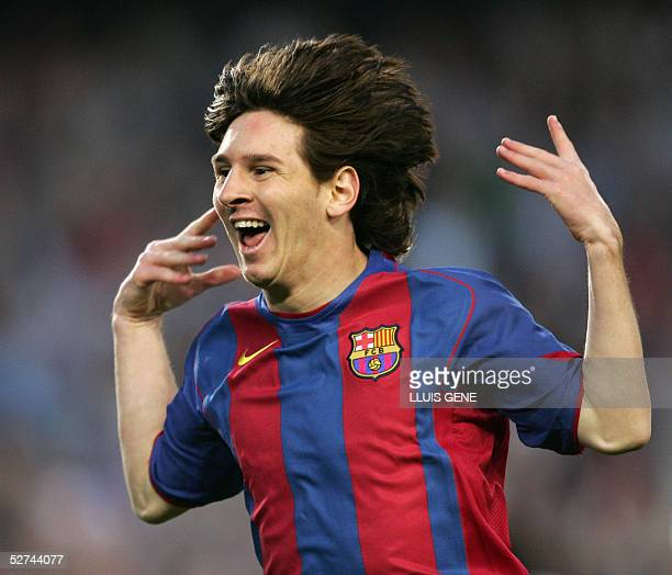 Barcelona's Argentinian Messi celebrates his goal against Albacete during their Spanish League football match at the Camp Nou stadium in Barcelona 01...