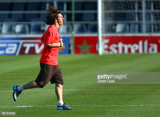 Barcelona's Argentinian midfielder Lionel Messi takes part in an afternoon training session at the Camp Nou in Barcelona on July 29 2008 AFP PHOTO /...