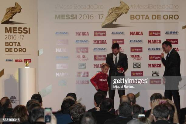 Barcelona's Argentinian striker Lionel Messi attends for his fourth Golden Boot trophy as top scorer in all European soccer leagues of the 201617...