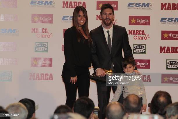 Barcelona's Argentinian striker Lionel Messi receiving his fourth Golden Boot trophy as top scorer in all European soccer leagues of the 201617...