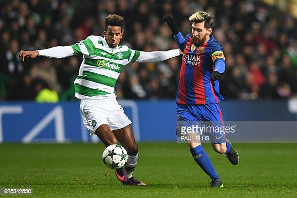 Barcelona's Argentinian striker Lionel Messi takes on Celtic's English midfielder Scott Sinclair during the UEFA Champions League group C football...