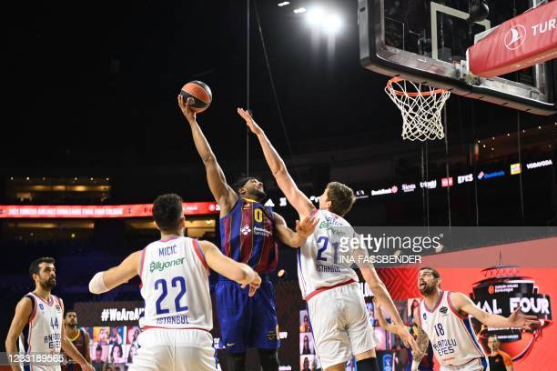Barcelona's Brandon Davies tries to score during the Basketball Euroleague Final Four championship final match between FC Barcelona and Anadolu Efes...