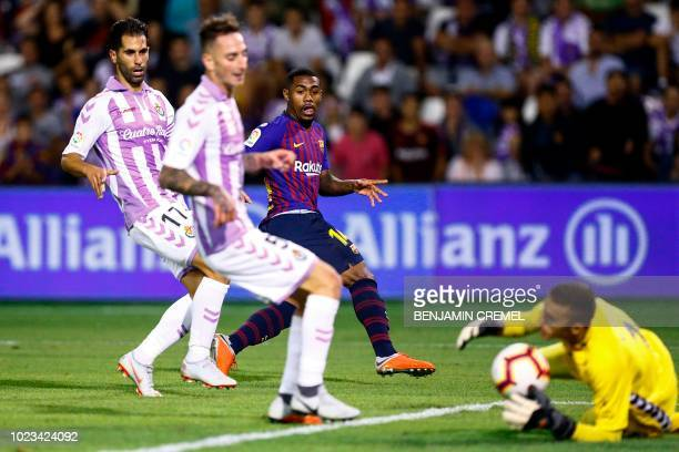 Barcelona's Brazilian forward Malcom kicks the ball during the Spanish league football match between Real Valladolid and FC Barcelona at the Jose...