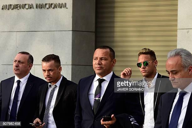 Barcelona's Brazilian forward Neymar and his father Neymar Santos arrive to Spain's national court in Madrid on February 2 2016 Barcelona star Neymar...