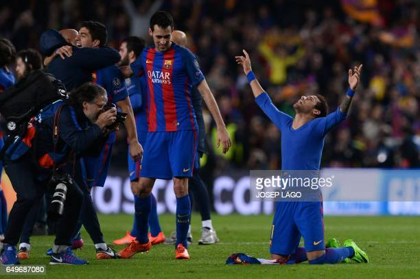 TOPSHOT Barcelona's Brazilian forward Neymar celebrates their 61 victory at the end of the UEFA Champions League round of 16 second leg football...