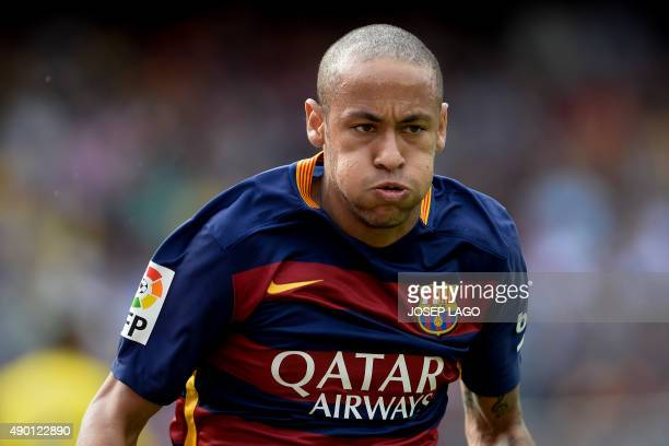 Barcelona's Brazilian forward Neymar da Silva Santos Junior gestures during the Spanish league football match FC Barcelona vs UD Las Palmas at the...