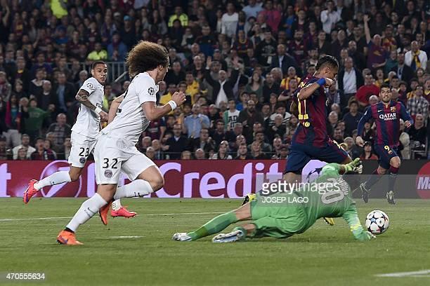 Barcelona's Brazilian forward Neymar da Silva Santos Junior passes by Paris SaintGermain's Italian goalkeeper Salvatore Sirigu to score the opener...