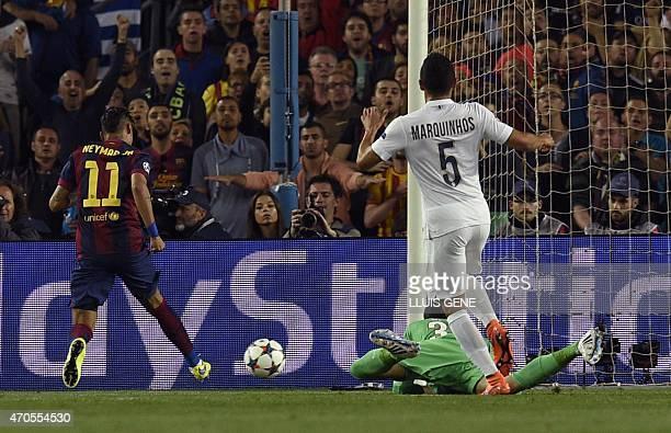 Barcelona's Brazilian forward Neymar da Silva Santos Junior scores a goal during the UEFA Champions League quarter-finals second leg football match...