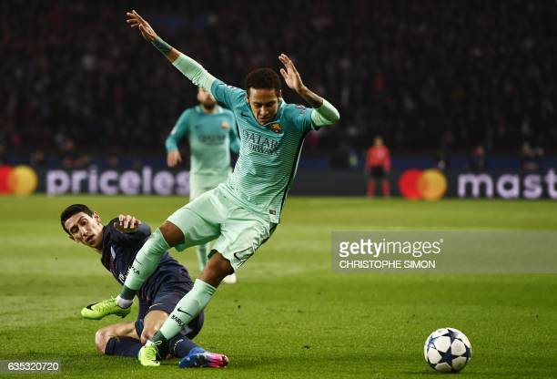 Barcelona's Brazilian forward Neymar is tackled by Paris SaintGermain's Argentinian forward Angel Di Maria during the UEFA Champions League round of...