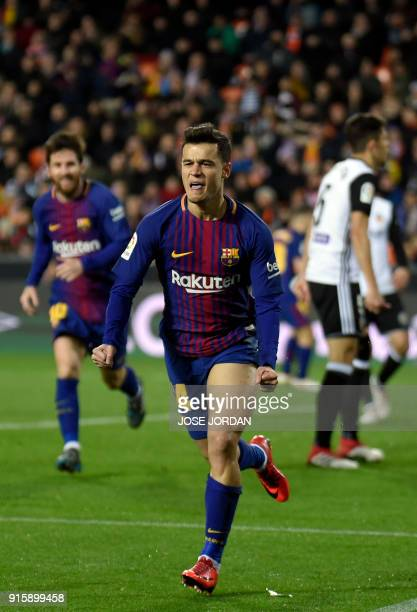 Barcelona's Brazilian midfielder Philippe Coutinho celebrates a goal during the Spanish 'Copa del Rey' second leg semifinal football match between...