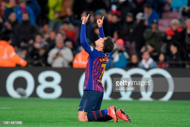 Barcelona's Brazilian midfielder Philippe Coutinho celebrates after scoring a goal during the Spanish Copa del Rey quarterfinal second leg football...