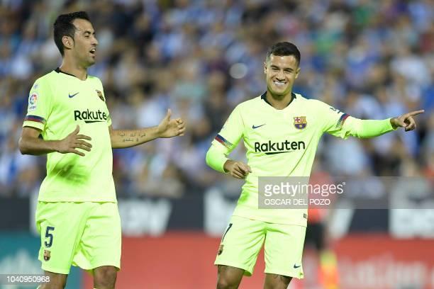 Barcelona's Brazilian midfielder Philippe Coutinho celebrates the opening goal the Spanish league football match Club Deportivo Leganes SAD against...