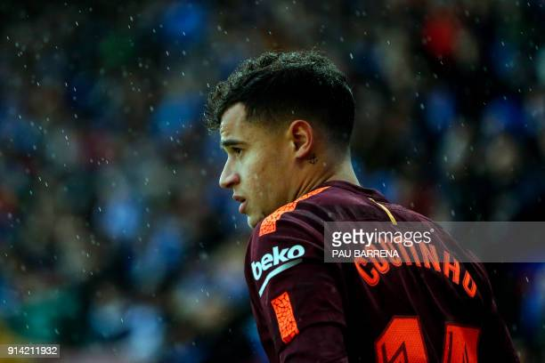 Barcelona's Brazilian midfielder Philippe Coutinho looks on during the Spanish league football match between RCD Espanyol and FC Barcelona at the...