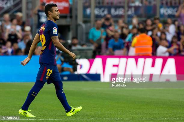 12 Barcelona's Brazilian midfielder Rafinha during the team presentation after the Joan Gamper trophy match between FC Barcelona vs Chapecoense at...