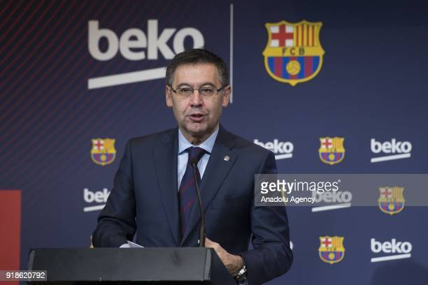 Barcelona's Chairman Josep Maria Bartomeu and Vice president of the Koc Holding administration council Ali Koc hold a joint press conference as...