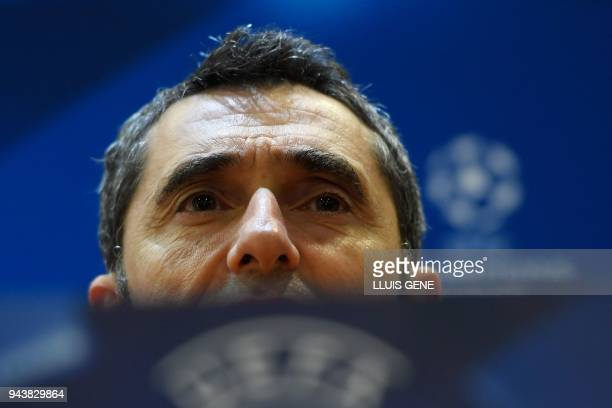 Barcelona's coach Ernesto Valverde gives a press conference at the Olympic Stadium in Rome on April 9 2018 on the eve of the UEFA Champions League...