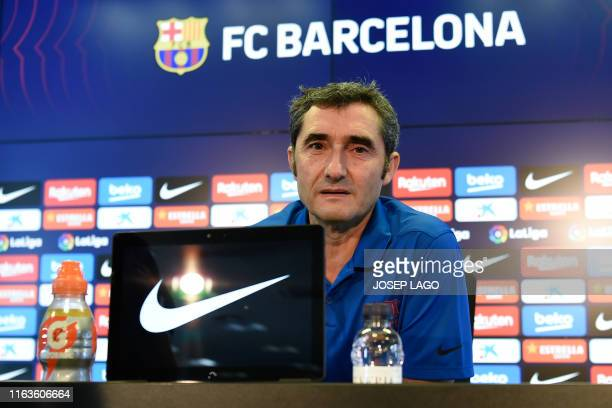 Barcelona's coach Ernesto Valverde gives a press conference prior to a training session at the Joan Gamper training ground in Sant Joan Despi near...