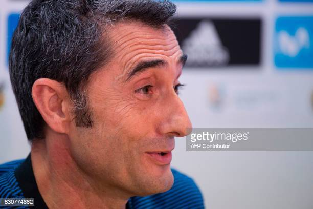 Barcelona's coach Ernesto Valverde looks on during a press conference before a training session at the sports Center FC Barcelona Joan Gamper in Sant...