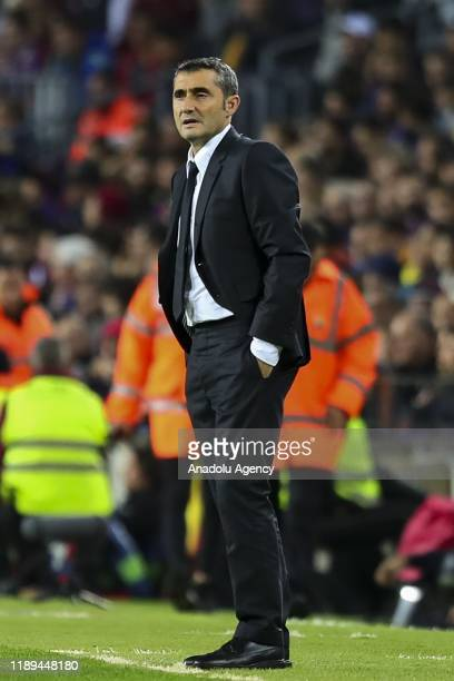 Barcelona's coach Ernesto Valverde looks on during Spanish El Clasico football match between FC Barcelona and Real Madrid at the Camp Nou stadium in...