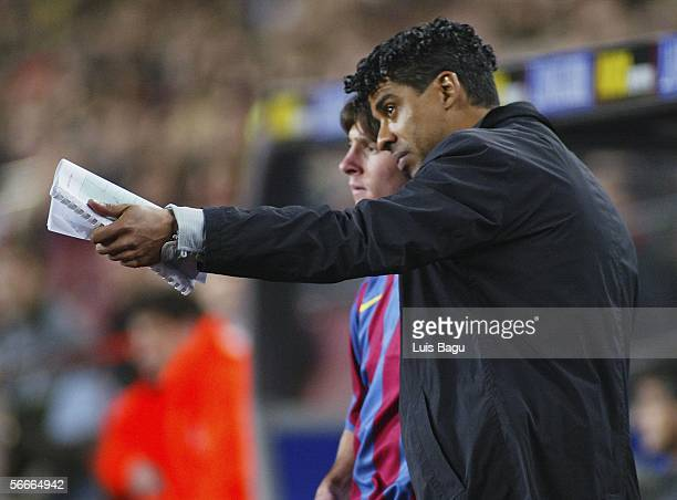 Barcelona's coach Frank Rijkaard is pictured during the La Liga match between FC Barcelona and Alaves played at the Camp Nou stadium on January 22,...