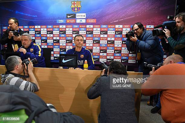 Barcelona's coach Luis Enrique arrives to a press conference at the Sports Center FC Barcelona Joan Gamper in Sant Joan Despi, near Barcelona on...