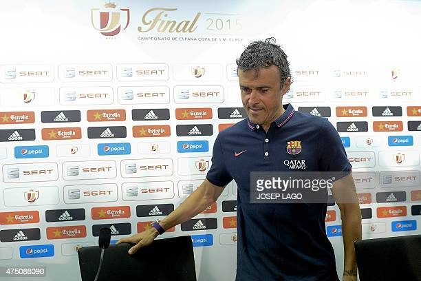 Barcelona's coach Luis Enrique arrives to give a press conference on the eve of the Spanish King's Cup final football match FC Barcelona vs Athletic...