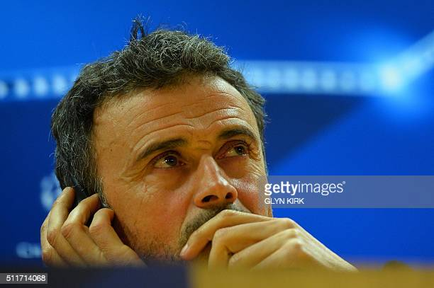 Barcelona's coach Luis Enrique attends a press conference ahead of the UEFA Champions League round of 16 1st leg football match against Arsenal at...